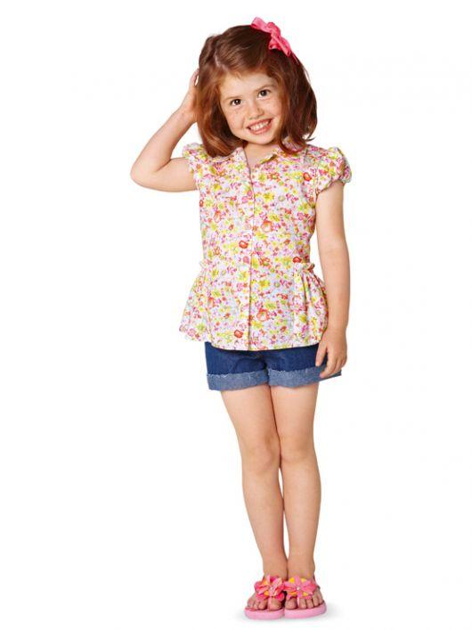 Блузка сорочкового крою з пишною баскою