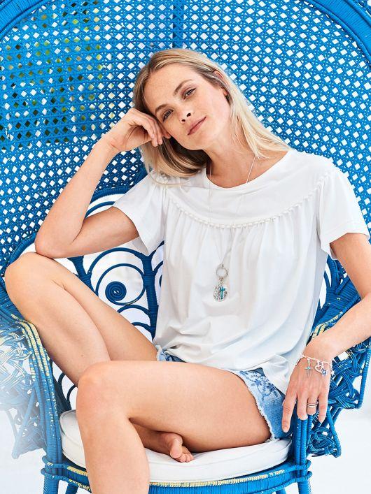 Блуза трикотажна з вирізом човником