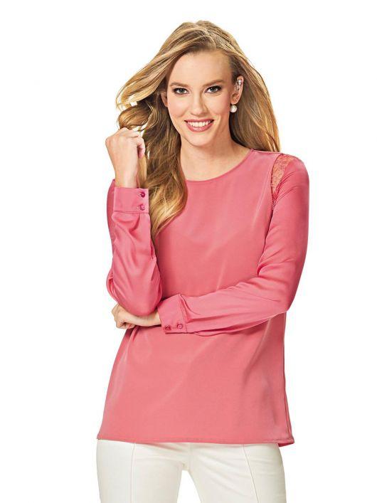 Блуза шовкова з мереживними вставками
