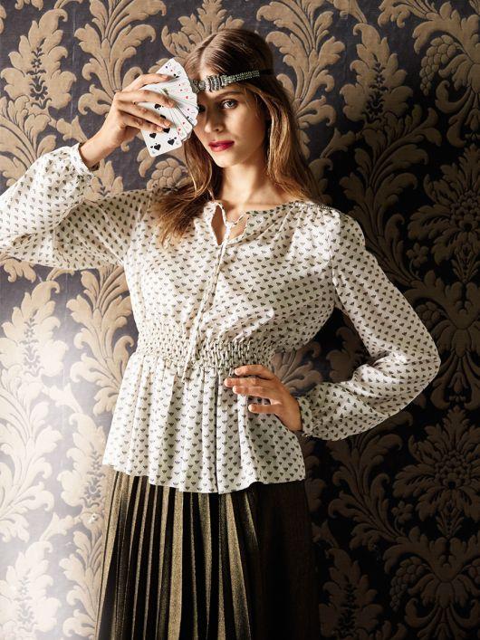 Блузка приталеного крою з плечовими кокетками