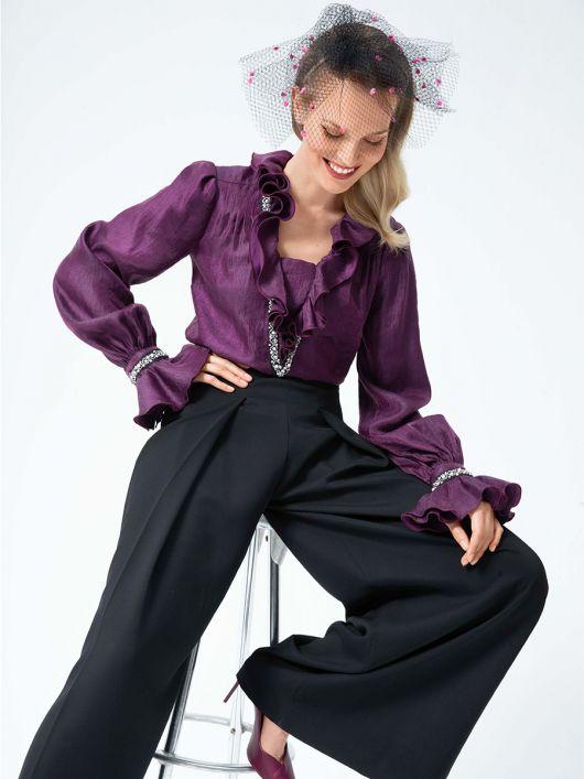 Блузка вінтажна з пишними воланами