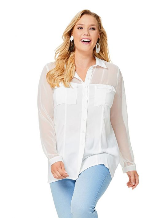 Блузка-сорочка зі складкою на спинці