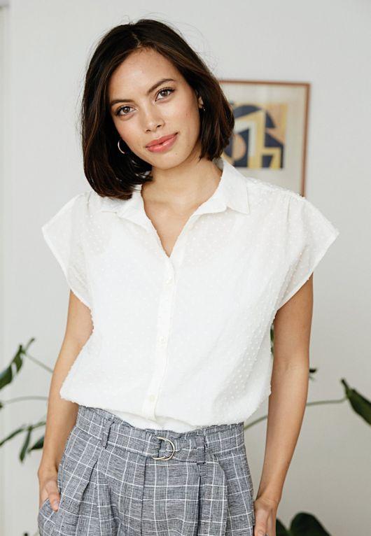 Блузка-сорочка з приспущеними проймами