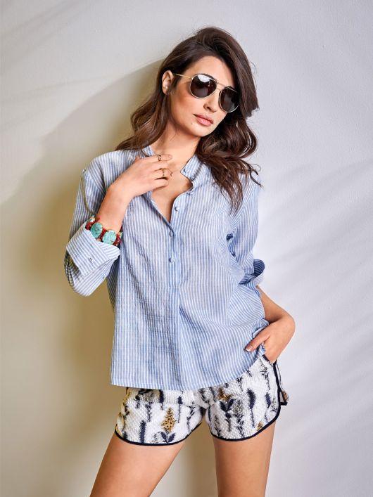 Блузка-сорочка із застібкою поло
