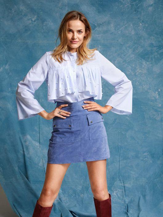 Блуза сорочкового крою з максі-оборками