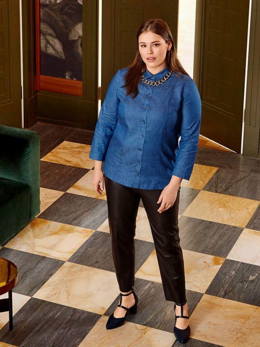 Блузка-рубашка джинсовая с рельефными швами