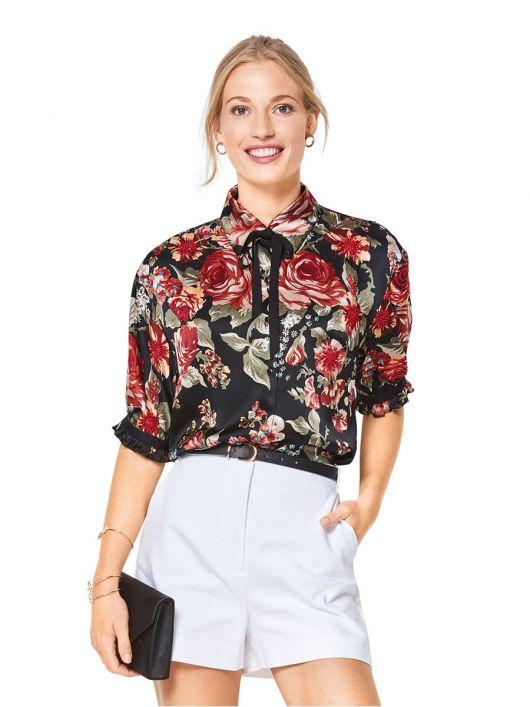 Блузка-сорочка приталеного силуету з короткими рукавами