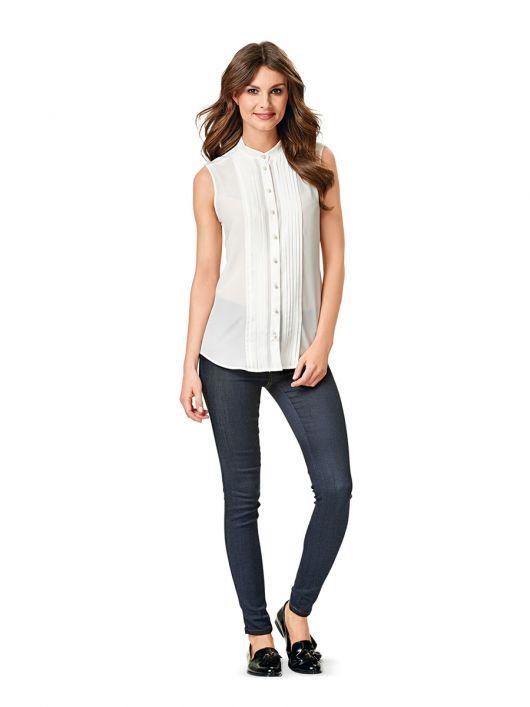 Блузка шовкова з коміром-стойкою і защипами