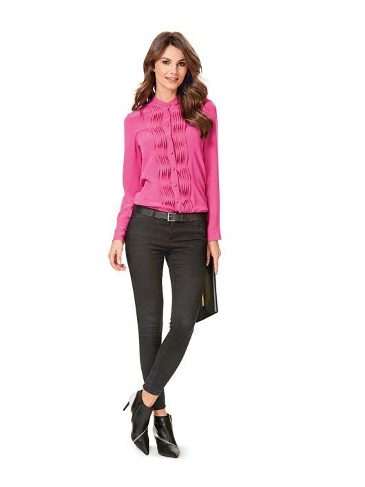 Блуза-сорочка із фігурними защипами