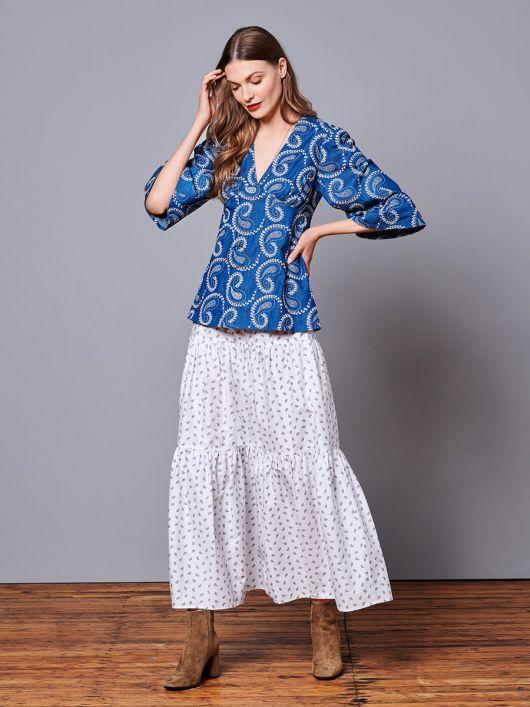 Блузка силуету ампір з деніму