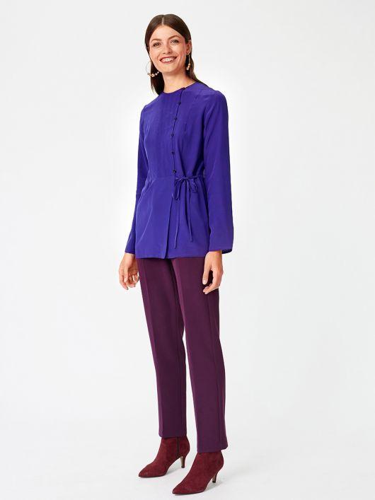 Блуза відрізна з асиметричною застібкою