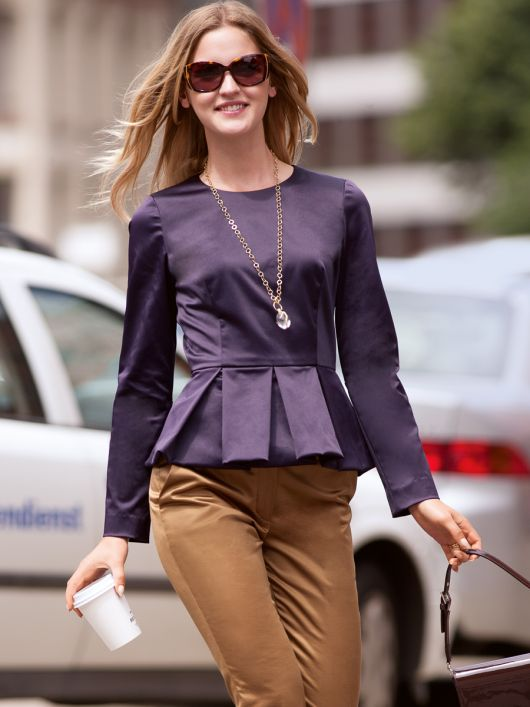 Блуза із баскою в складку