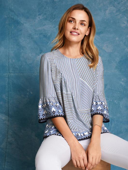 Блуза прямого кроя со сборками