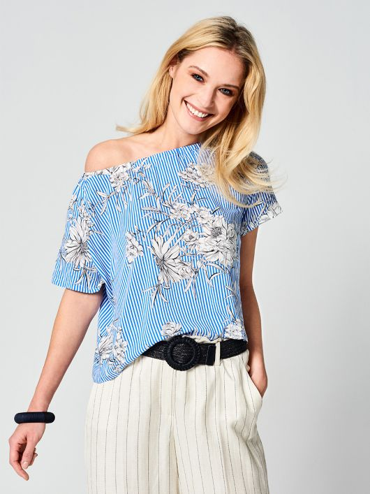Блуза с короткими рукавами реглан