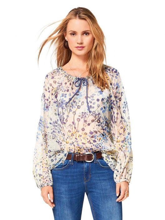 Блузка шовкова з рукавами реглан