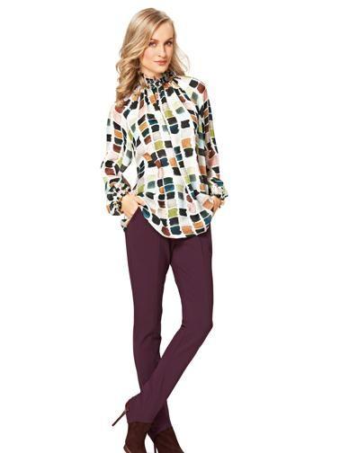 Блуза шовкова з рукавами реглан і коміром-стойкою