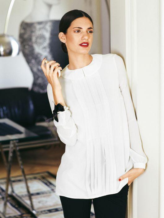 Блуза шифонова з відкладним коміром
