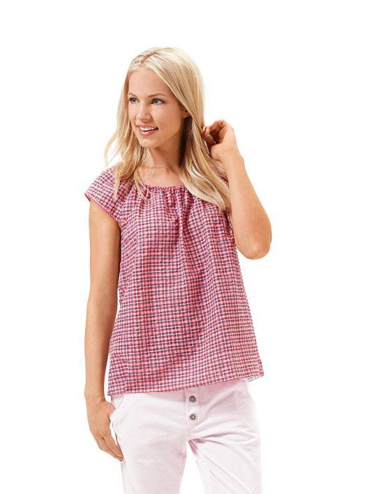 Блузка з короткими рукавами і вирізом кармен