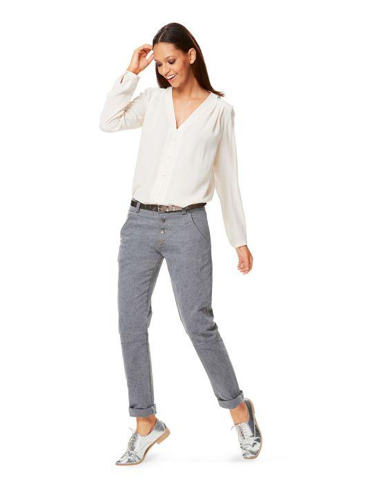 Брюки у джинсовому стилі з фігурними швами
