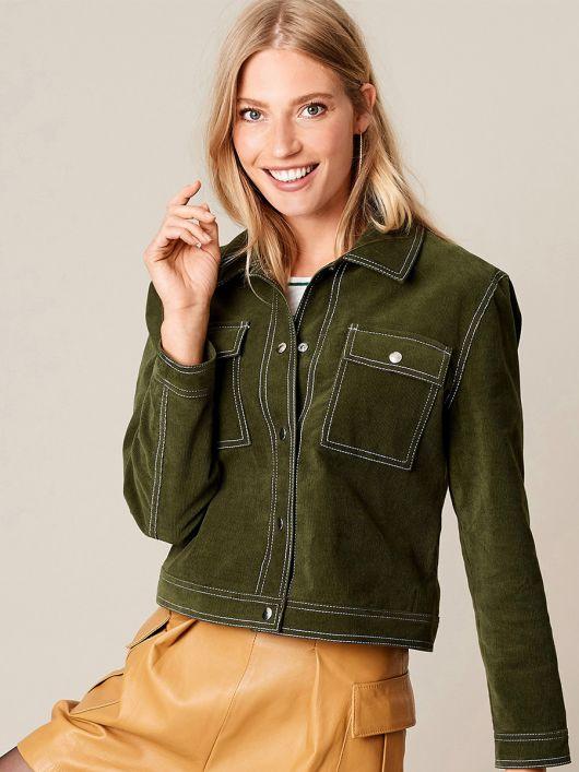 Куртка вельветовая с накладными карманами