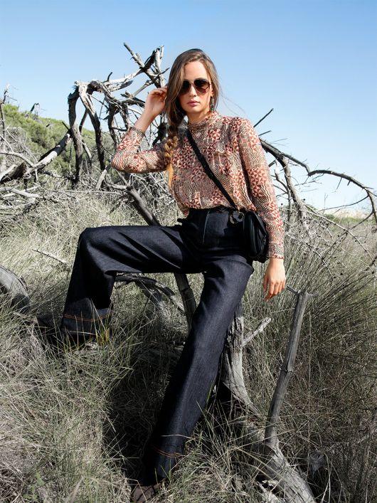 Брюки в джинсовому стилі з високою талією