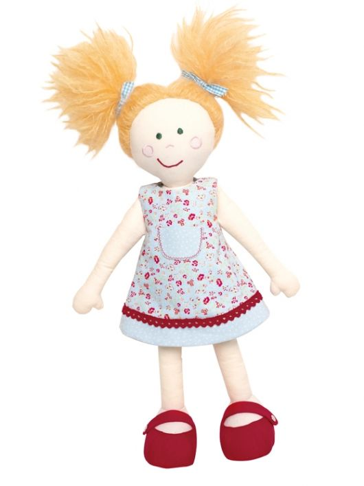 Лялька текстильна в сукні і черевичках