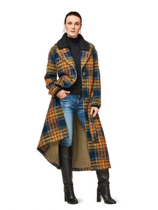 Пальто максі зі знімним трикотажним коміром