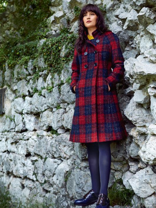 Пальто двобортне з рукавами реглан