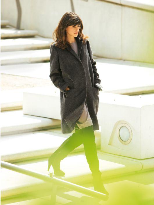 Пальто однобортне із шерстяного велюру