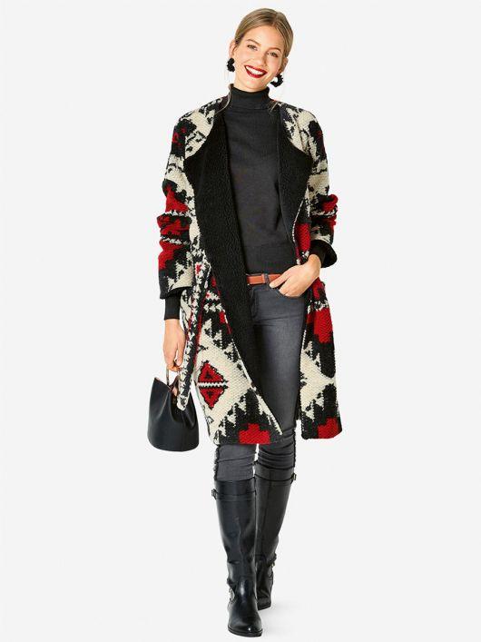 Пальто широкого крою із в'язаного полотна