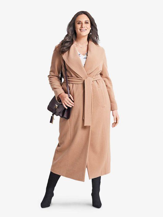 Пальто прямого силуету з широким шалевим коміром