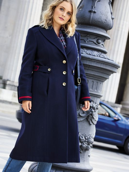 Пальто однобортне в армійському стилі