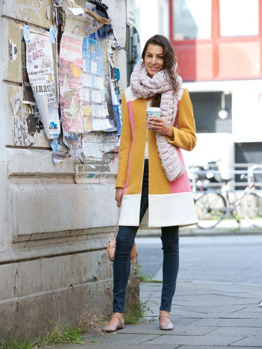 Пальто з лодену в стилі печворк