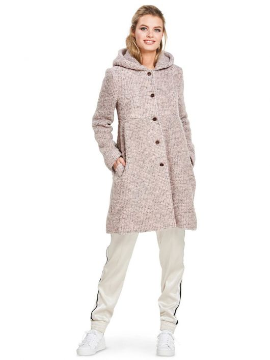 Пальто букле з капюшоном