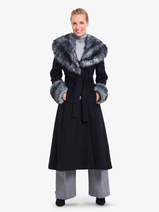 Пальто з шалевим хутряним коміром