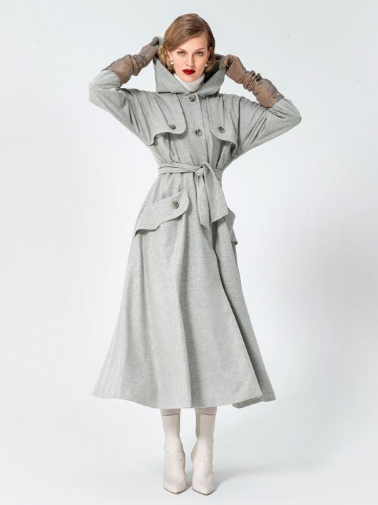 Пальто вінтажне з капюшоном