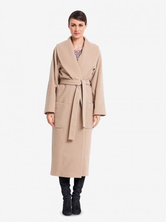 Пальто з запахом і шалевим коміром