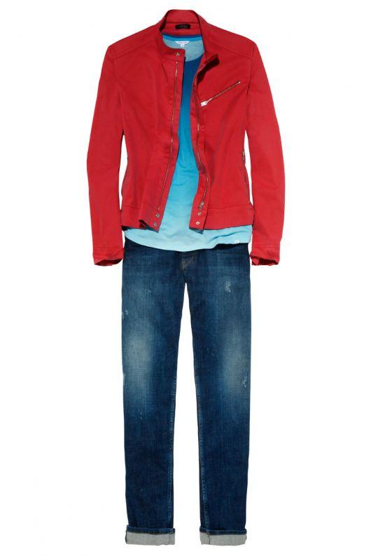 Куртка джинсова в стилі бомбера