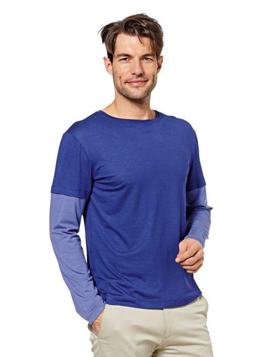 Пуловер простого крою з комбінованими рукавами