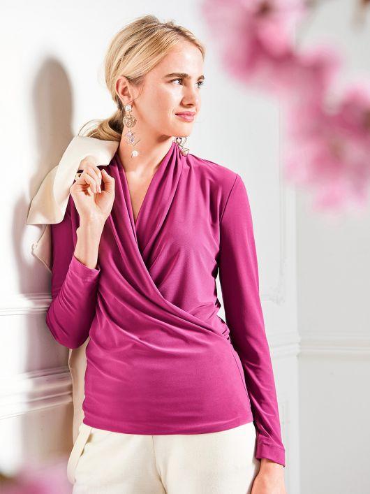 Пуловер приталеного крою з ефектом запаху