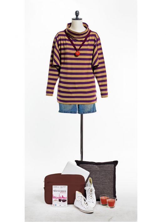 Пуловер з коміром гольф і рукавами кімоно