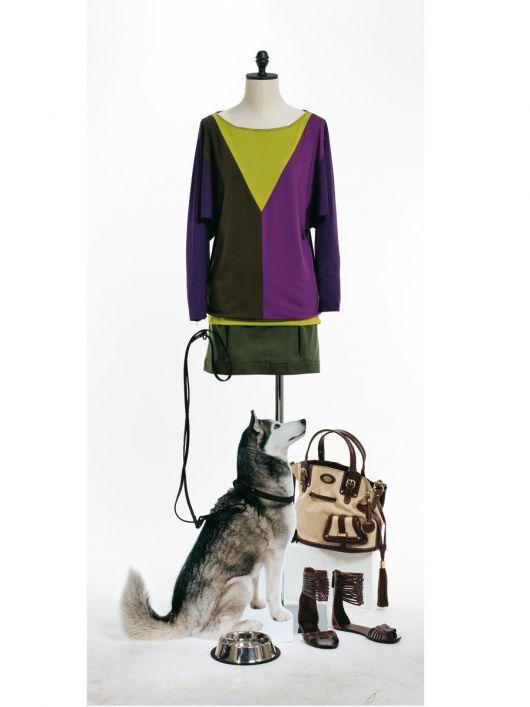 Пуловер прямого крою в стилі колор-блок