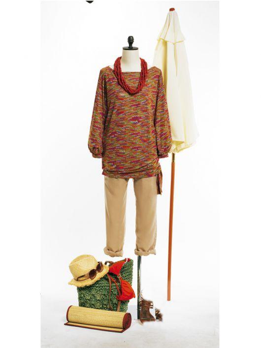 Пуловер з поясом-зав'язкою по нижньому краю