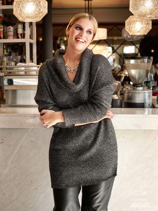 Пуловер довгий з коміром хомутом