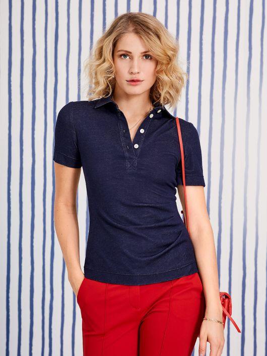 Рубашка поло трикотажная з асимметричными складками