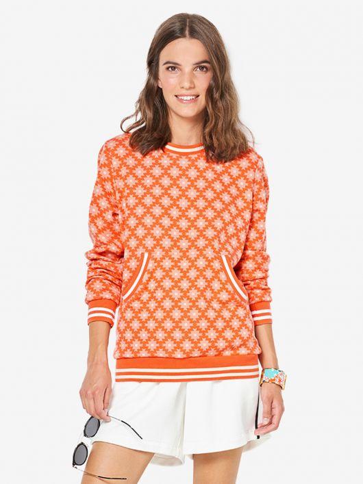 Пуловер прямого крою з кишенею-кенгуру