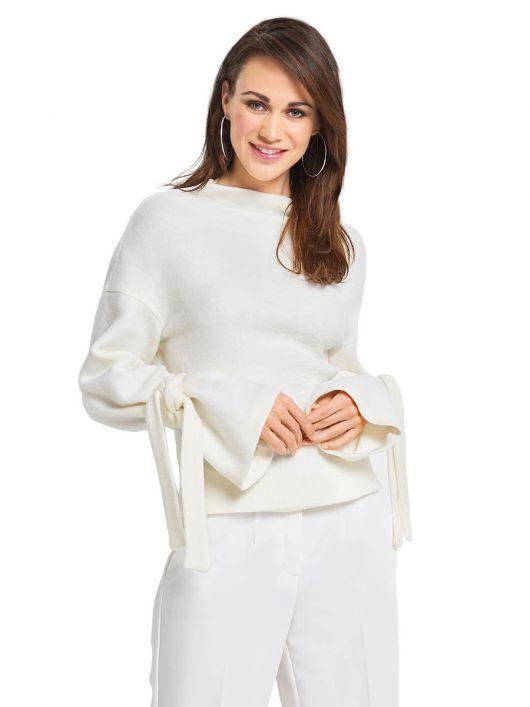 Пуловер прямого крою із зав'язками на рукавах