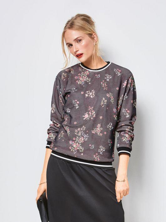 Пуловер з контрастними манжетами