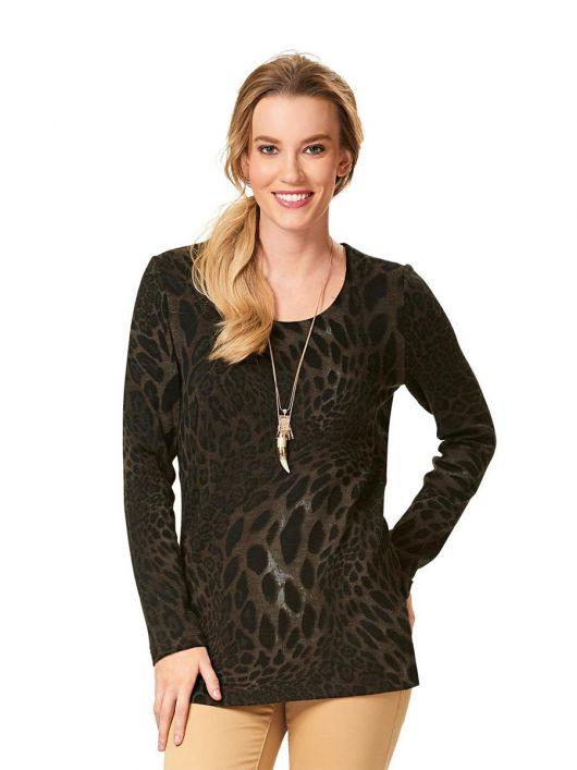 Пуловер з довгими рукавами і круглим вирізом горловини