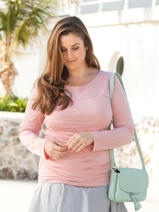 Пуловер зі зборками в бокових швах